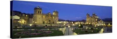 Christian Cathedral and Square at Dusk, Cuzco (Cusco), Unesco World Heritage Site, Peru-Gavin Hellier-Stretched Canvas Print
