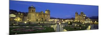 Christian Cathedral and Square at Dusk, Cuzco (Cusco), Unesco World Heritage Site, Peru-Gavin Hellier-Mounted Photographic Print
