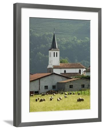 Church in Countryside Near Saint Jean Pied De Port, Basque Country, Aquitaine, France-Robert Harding-Framed Photographic Print