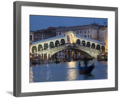 The Grand Canal, the Rialto Bridge and Gondolas at Night, Venice, Veneto, Italy-Christian Kober-Framed Photographic Print