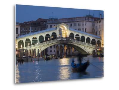 The Grand Canal, the Rialto Bridge and Gondolas at Night, Venice, Veneto, Italy-Christian Kober-Metal Print