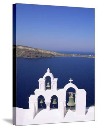 Bell Tower on Christian Church, Oia (Ia), Santorini (Thira), Aegean Sea, Greece-Sergio Pitamitz-Stretched Canvas Print