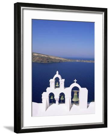 Bell Tower on Christian Church, Oia (Ia), Santorini (Thira), Aegean Sea, Greece-Sergio Pitamitz-Framed Photographic Print