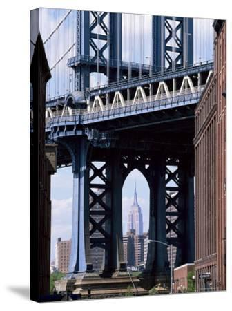 Empire State Building Seen Through the Manhattan Bridge, Brooklyn, New York, New York State, USA-Yadid Levy-Stretched Canvas Print