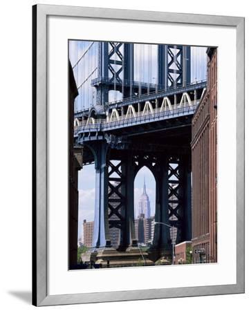 Empire State Building Seen Through the Manhattan Bridge, Brooklyn, New York, New York State, USA-Yadid Levy-Framed Photographic Print
