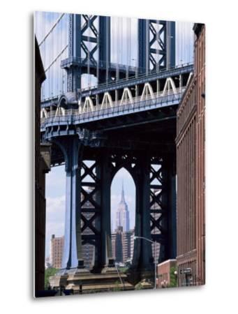 Empire State Building Seen Through the Manhattan Bridge, Brooklyn, New York, New York State, USA-Yadid Levy-Metal Print