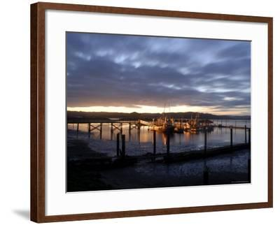Fishing and Crabbing Boats at Low Tide after Sunset, in Dock at the End of the Road in Grayland-Aaron McCoy-Framed Photographic Print