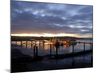 Fishing and Crabbing Boats at Low Tide after Sunset, in Dock at the End of the Road in Grayland-Aaron McCoy-Mounted Photographic Print