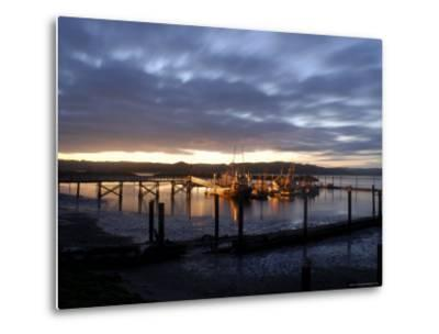 Fishing and Crabbing Boats at Low Tide after Sunset, in Dock at the End of the Road in Grayland-Aaron McCoy-Metal Print
