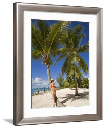 Woman Leaning Against Palm Tree, Princess Cays, Eleuthera Island, West Indies, Caribbean-Richard Cummins-Framed Photographic Print