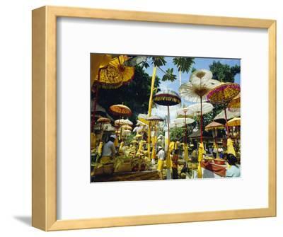 Parasols in Taman Pile Hindu Temple on Koningan Day, Bali, Indonesia-Robert Francis-Framed Photographic Print