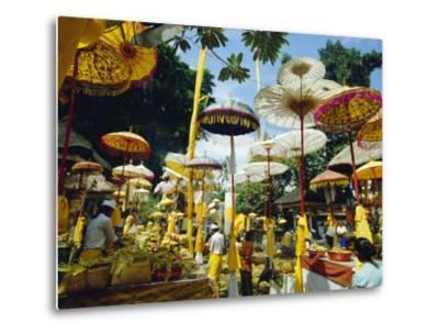 Parasols in Taman Pile Hindu Temple on Koningan Day, Bali, Indonesia-Robert Francis-Metal Print