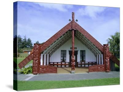 Maori Marae, or Meeting House, at Putiki, North Island, New Zealand-Robert Francis-Stretched Canvas Print