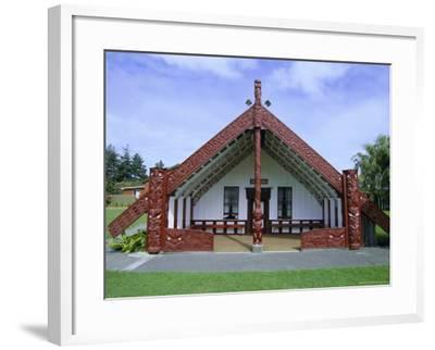 Maori Marae, or Meeting House, at Putiki, North Island, New Zealand-Robert Francis-Framed Photographic Print