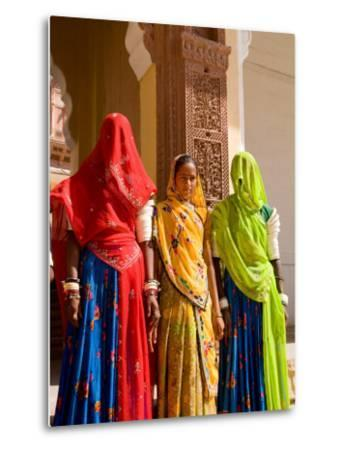 Women in Doorway of Fort Palace, Jodhpur, Fort Mehrangarh, Rajasthan, India-Bill Bachmann-Metal Print