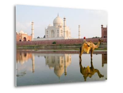 Young Boy on Camel, Taj Mahal Temple Burial Site at Sunset, Agra, India-Bill Bachmann-Metal Print