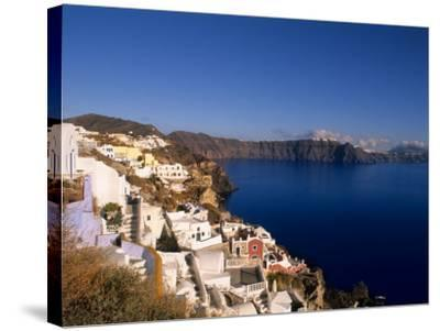 White Buildings on the Cliffs in Oia, Santorini, Greece-Bill Bachmann-Stretched Canvas Print