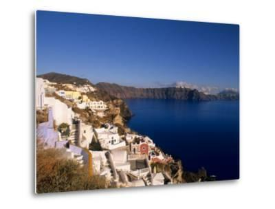 White Buildings on the Cliffs in Oia, Santorini, Greece-Bill Bachmann-Metal Print