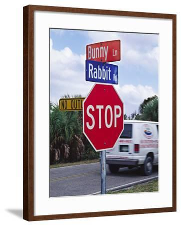Intersection Sign on Sanibel Island, Florida, USA-Charles Sleicher-Framed Photographic Print