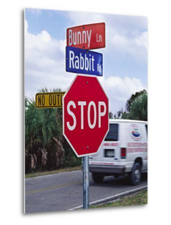 Intersection Sign on Sanibel Island, Florida, USA-Charles Sleicher-Metal Print