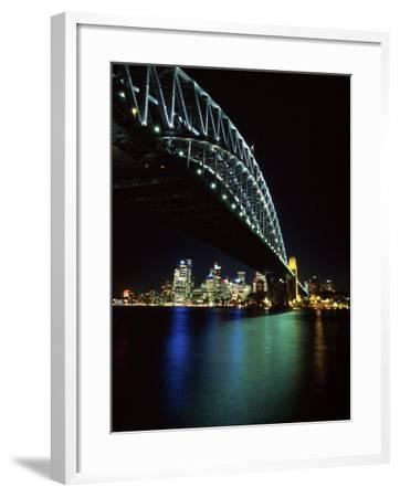 Sydney Harbor Bridge and CBD at Night, Sydney, Australia-David Wall-Framed Photographic Print