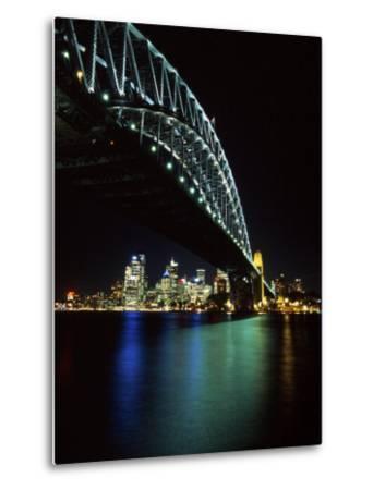 Sydney Harbor Bridge and CBD at Night, Sydney, Australia-David Wall-Metal Print
