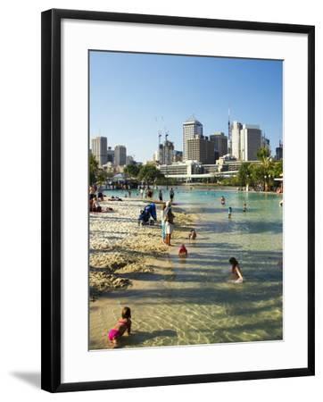 Beach, South Bank Parklands, Brisbane, Queensland, Australia-David Wall-Framed Photographic Print