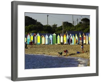 Bathing Boxes, Middle Brighton Beach, Port Phillip Bay, Melbourne, Victoria, Australia-David Wall-Framed Photographic Print