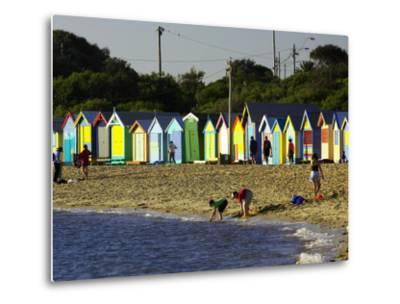 Bathing Boxes, Middle Brighton Beach, Port Phillip Bay, Melbourne, Victoria, Australia-David Wall-Metal Print
