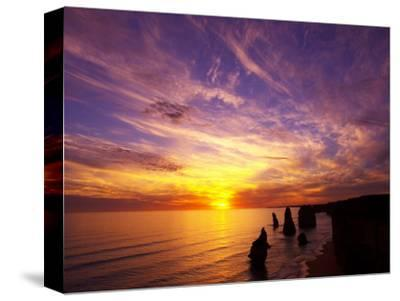Sunset, Twelve Apostles, Port Campbell National Park, Great Ocean Road, Victoria, Australia-David Wall-Stretched Canvas Print