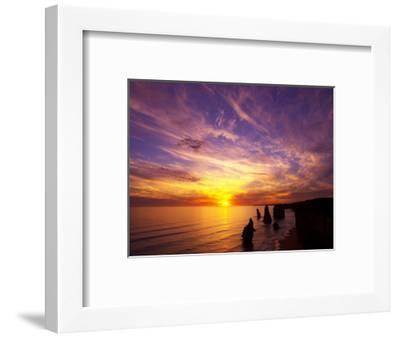 Sunset, Twelve Apostles, Port Campbell National Park, Great Ocean Road, Victoria, Australia-David Wall-Framed Photographic Print