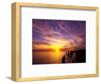Sunset, Twelve Apostles, Port Campbell National Park, Great Ocean Road, Victoria, Australia-David Wall-Framed Photographic Print