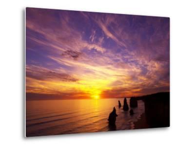 Sunset, Twelve Apostles, Port Campbell National Park, Great Ocean Road, Victoria, Australia-David Wall-Metal Print