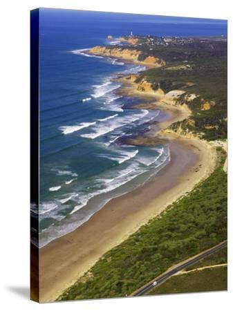 Great Ocean Road and Split Point Lighthouse, Aireys Inlet, Victoria, Australia-David Wall-Stretched Canvas Print