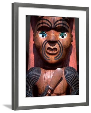 Maori Carving on Arataki Visitors Centre, Waitakere Ranges, Auckland-David Wall-Framed Photographic Print