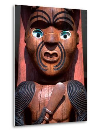 Maori Carving on Arataki Visitors Centre, Waitakere Ranges, Auckland-David Wall-Metal Print