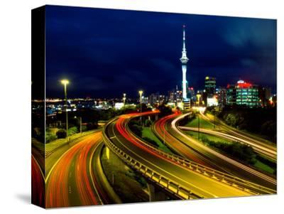 Motorways and Skytower, Auckland-David Wall-Stretched Canvas Print