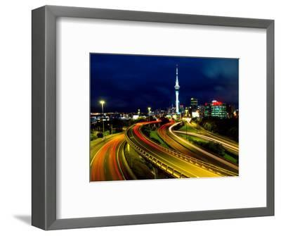 Motorways and Skytower, Auckland-David Wall-Framed Photographic Print