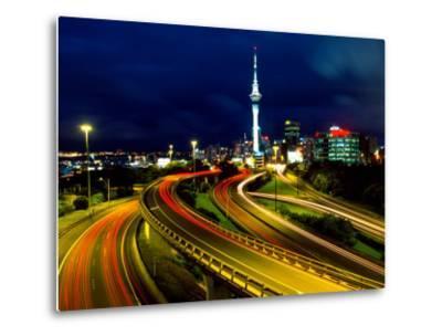Motorways and Skytower, Auckland-David Wall-Metal Print