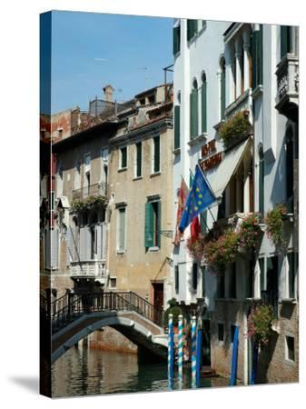 Bridge over Canal, Venice, Italy-Lisa S^ Engelbrecht-Stretched Canvas Print