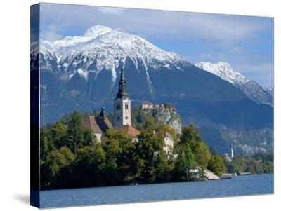 Bled Castle and Julian Alps, Lake Bled, Bled Island, Slovenia-Lisa S^ Engelbrecht-Stretched Canvas Print