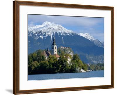 Bled Castle and Julian Alps, Lake Bled, Bled Island, Slovenia-Lisa S^ Engelbrecht-Framed Photographic Print