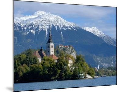 Bled Castle and Julian Alps, Lake Bled, Bled Island, Slovenia-Lisa S^ Engelbrecht-Mounted Photographic Print