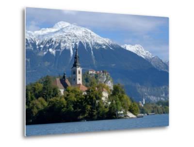 Bled Castle and Julian Alps, Lake Bled, Bled Island, Slovenia-Lisa S^ Engelbrecht-Metal Print