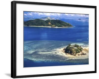Wading Island and Castaway Island, Fiji-David Wall-Framed Photographic Print