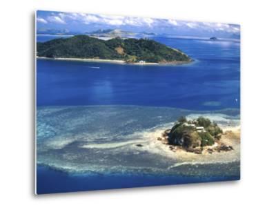 Wading Island and Castaway Island, Fiji-David Wall-Metal Print