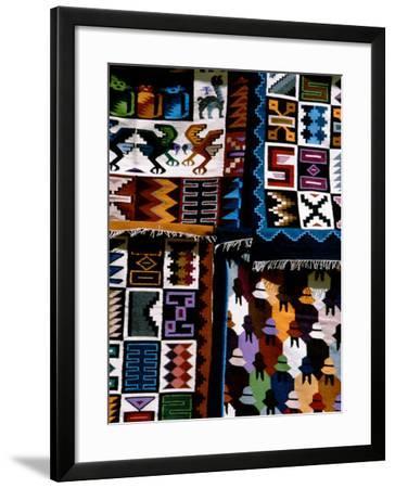 Traditional Wool Textile Blankets for Sale, Pisac Market, Peru-Cindy Miller Hopkins-Framed Photographic Print