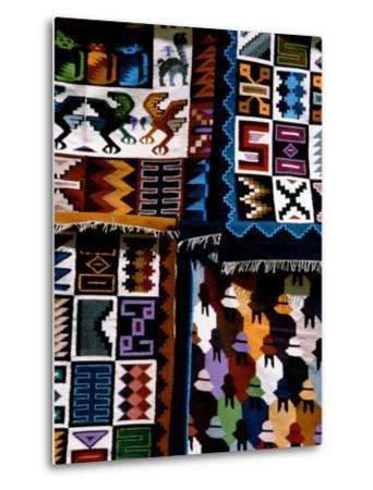 Traditional Wool Textile Blankets for Sale, Pisac Market, Peru-Cindy Miller Hopkins-Metal Print