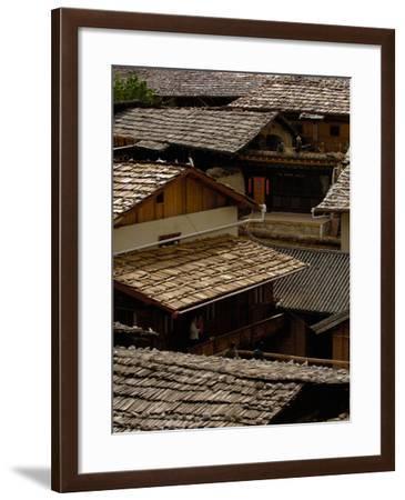 Tibetan House Rooves, Zhongdian, Deqin Tibetan Autonomous Prefecture, Yunnan Province, China-Pete Oxford-Framed Photographic Print