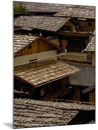 Tibetan House Rooves, Zhongdian, Deqin Tibetan Autonomous Prefecture, Yunnan Province, China-Pete Oxford-Mounted Photographic Print
